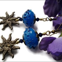 Blue Lampwork Glass Bead Antiqued Brass Sun Swarovski Crystal Earrings