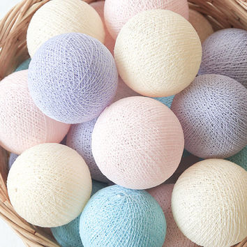 Little Pony Pastel Pink Blue Lavender Cream 20 Handmade Cotton Ball Patio Party String Lights – Fairy, Wedding, Holiday, Home Décor