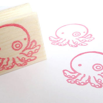 Rubber stamp, Octopus rubber stamp, Beach wedding, Sea animal, Summer stationery, Kid's toy, Funny stamp, Kawaii Japanese stationery