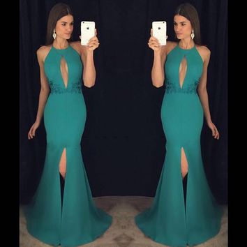 Vestido De Festa Sexy Backless Long Prom Dress With Front Keyhole Mermaid Prom Party Dresses 2016 Robe De Soiree