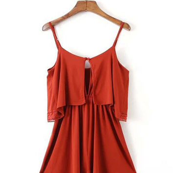 Fashion Round Neck Embroidered Thin  Strap Rompers