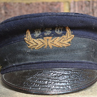 Vintage WWI US Navy Wool & Leather Bill Military Society Hat