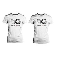 Infinity Sign Best Friend Shirts - White Cotton Matching BFF T-shirts