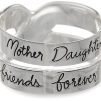 "Sterling Silver ""Mother Daughter Friends Forever"" Double Band Ring, Size 8"