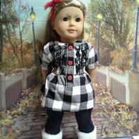 "18 inch doll clothes ""Black, White & Checks All Over"" will fit American Girl dress top leggings headband fall / winter outfit  B3"