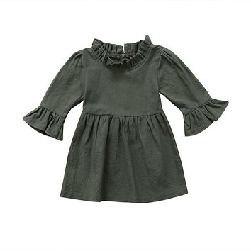 Toddler Kid Baby Girls Dress Clothes Autumn Girl Clothing Three Quarter Solid Army Green Ruffle Sleeve Turtleneck Dress