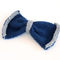 hand knit ravenclaw bow hairclip