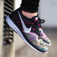 NIKE AIR Rainbow Knit Line Black  Fashion Men Running Sport Casual Shoes Sneakers G-AA-SDDSL-KHZHXMKH