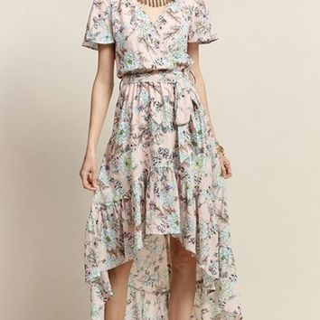 At First Blush Floral Hi-Low Maxi Dress