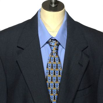 Brooks Brothers Vintage Blazer Sports Coat USA Wool Blue Glen Plaid Mens 40R - Preowned
