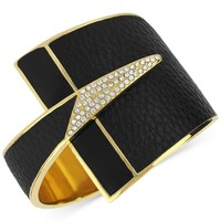 Boy Meets Girl x Roman Luxe 14k Gold-Plated Crystal Pave Black Python Bracelet