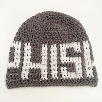 FREE SHIPPING - Custom Crochet PHISH Slouchy Beanie - Light Gray with White letters