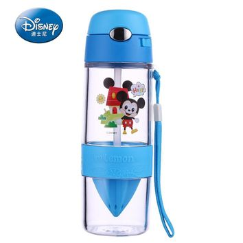 Disney Water Bottle BPA Free Children Plastic Straw Bottle for Water With Lid Eco-friendly Kids Camp Tumbler Cartoon