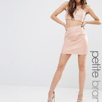 Missguided Petite | Missguided Petite Faux Leather Mini Skirt at ASOS