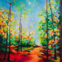 Treefolk Fantasy Landscape Painting - colorful, trees, ent, acrylic