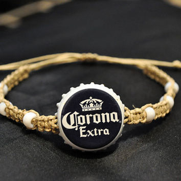 Corona Recycled Beer Bottle Cap Hemp Bracelet, recycled bottle cap jewelry, beer bottle cap, corona extra, Blue and White
