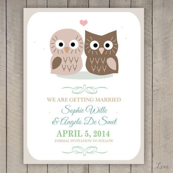 Personalized Save the Date for a wedding - owl