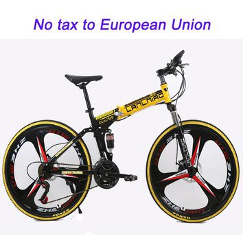 21 speed folding mountain bike 26inch double disc brakes mountain bicycle double damping 6 knife wheel and 3 knife wheel bicycle
