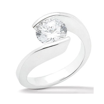 1 carat round diamond solitaire ring white gold 18K jewelry