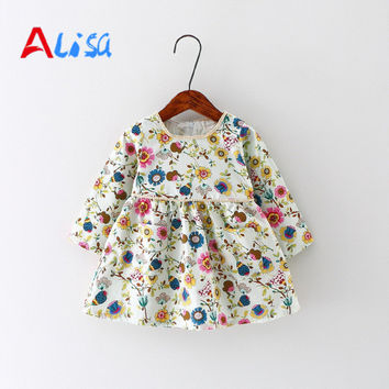 Baby Girl Dress Cotton Infant Dress Floral Print European Style Vintage Long Sleeve Toddler Dress Birthday Baby Clothes