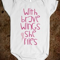 WITH BRAVE WINGS SHE FLIES - PINK BABY ONSIE