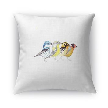 FINCHES IN MOUNTAIN POSE Accent Pillow By Birds Doing Yoga