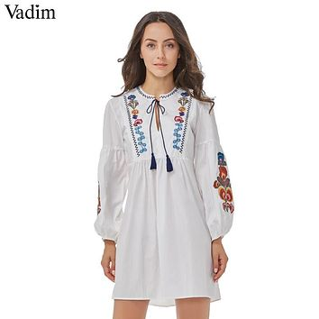 Vadim women vintage floral embroidery dress two pieces set bow tie lantern sleeve casual brand loose pleated dresses QZ3082