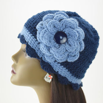 Blue Cloche Hat with Light Blue Flower and Band, Crochet Bucket Hat, Handmade, Womens, 1920s Cloche Hat