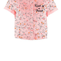 Pink Ditzy Crop SS Blouse from Iron fist