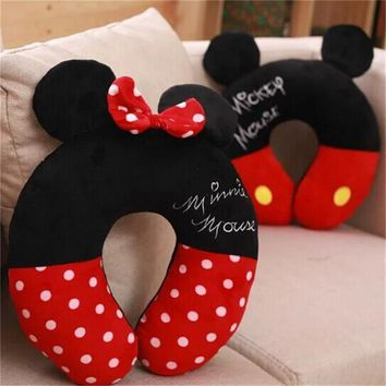 Disney Mickey Minnie Mouse Kawaii Cartoon U-shaped neck pillow Office lunch break portable pillow men and women birthday gifts