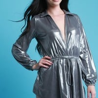 Glossy Metallic Surplice Self-Tie Skort Romper