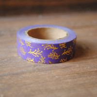 Purple and Gold Foil Leaf Washi Tape