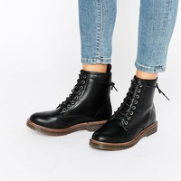 New Look Lace Up Ankle Biker Boots at asos.com
