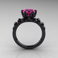 Nature Inspired 14K Black Gold 2.0 Carat Pink Sapphire Organic Design Bridal Solitaire Ring R670s-14KBGPS