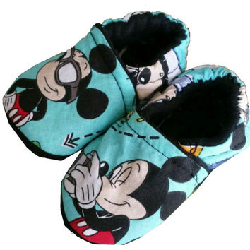 Mickey Mouse Baby Girl's Boy's Slippers Shoes Booties Crib Shoes Holiday Christmas Choose 0-24 M 3T - 5T  Baby Shower Gift