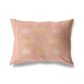 CASABLANCA KILIM DUSTY ROSE Indoor|Outdoor Lumbar Pillow By Becky Bailey