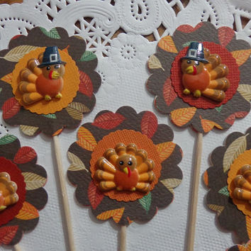 12 Turkey Thanksgiving Cupcake Toppers - Food Picks - Party Picks - Pilgrim Turkey -  LIMITED Edition