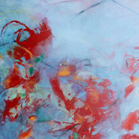 """Large Acrylic Painting Abstract Painting Expressionist Red """"Ongoing Conversation"""""""