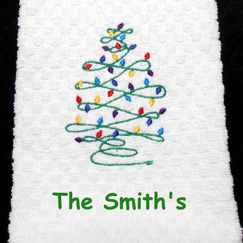 Christmas Tree Towel, Embroidered Towel, Holiday Kitchen, Christmas Lights, Christmas Tree, Gift for Her, 16 X 28 Inches, Personalize Towel