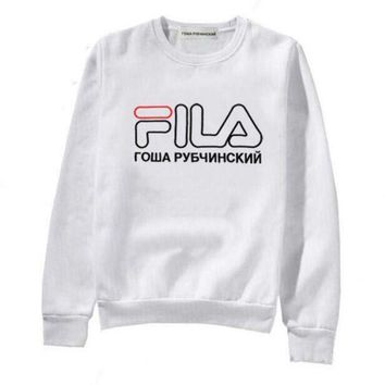 FILA Fashion Casual Women Men Print Long Sleeve Sweater Pullover Sweatshirt