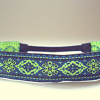 Neon Green Black and Blue Hippie Headband Indie Hair Accessories Boho Headband Bohemian Tribal Headband