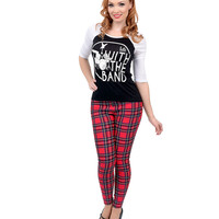 Red Millenium Plaid High Waisted Stretch Cigarette Pants