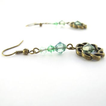 Green Crystal Earrings, Swarovski Crystallized Elements