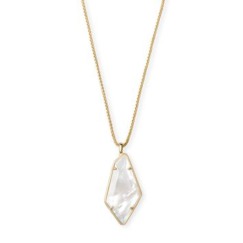 Kendra Scott - Lilith Gold Long Pendant Necklace in Ivory Mother of Pearl