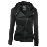 Fashion Zipper solid color hooded coat-8