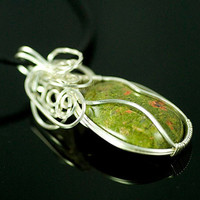 Wire wrapped necklace, unakite cabochon, sterling silver, leather