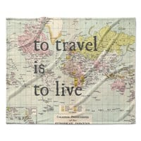 "Catherine Holcombe ""To Travel Is To Live"" Color Map Fleece Throw Blanket"