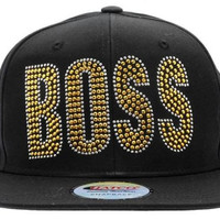 "Bling Rhinestone ""BOSS"" Gold & Silver STUDDED Snapback CAP Hat One Size UNISEX"