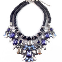 Navy Mix of Rope & Pearls Statement Necklace