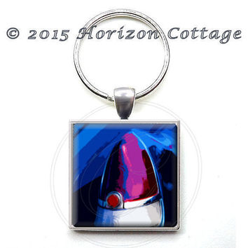 Blue Caddy Dreams - Classic Cadillac Tail Light - Fine Art Digital Painting - Key Ring